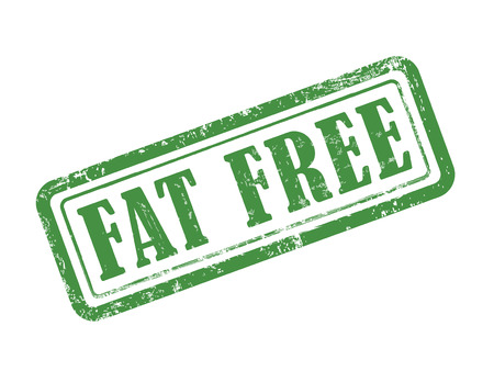 stamp fat free in green over white background