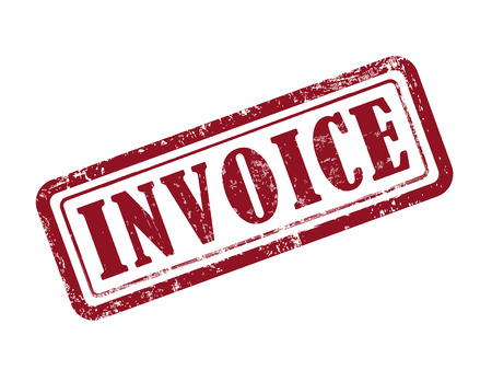 receivable: stamp invoice in red over white background