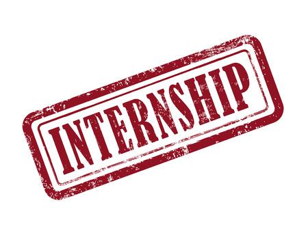 internship: stamp internship in red over white background