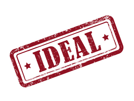 ideal: stamp ideal in red over white background