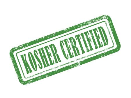 kosher: stamp kosher certified in green over white background