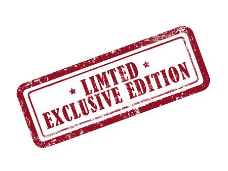 Stempel beschränkt: exklusive Edition in rot auf weißem Hintergrund Standard-Bild - 39872714