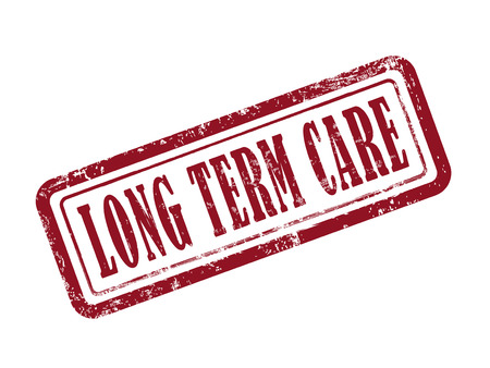 long term: stamp long term care in red over white background