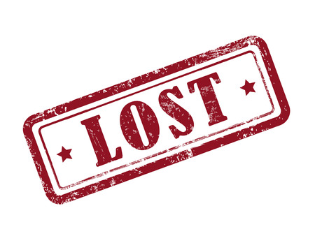 lost: stamp lost in red over white background