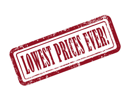 lowest: stamp lowest prices ever in red over white background