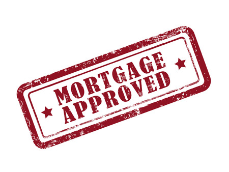 borrower: stamp mortgage approved in red over white background Illustration