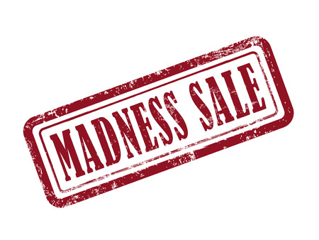madness: stamp madness sale in red over white background