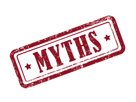 myths: stamp myths in red over white background