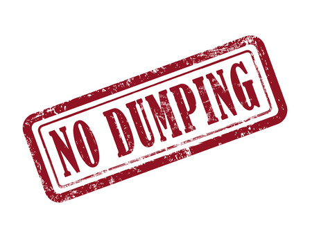 dumping: stamp no dumping in red over white background