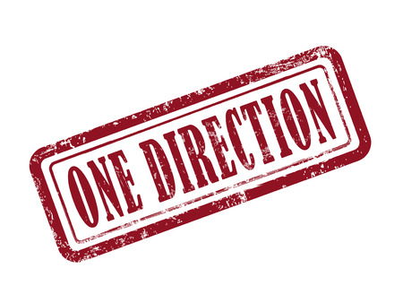 one way sign: stamp one direction in red over white background