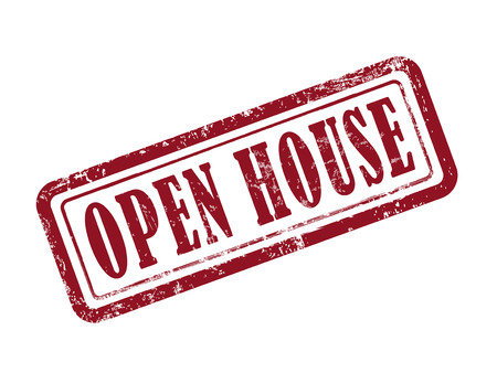 relocating: stamp open house in red over white background