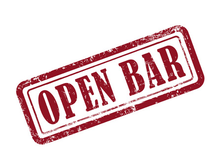 night bar: stamp open bar in red over white background