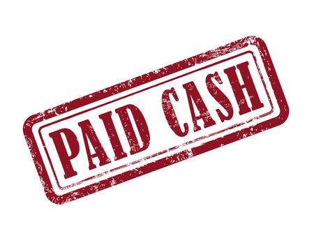authorized: stamp paid cash in red over white background