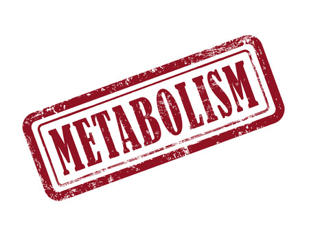 organisms: stamp metabolism in red over white background Illustration