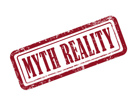 myth: stamp myth reality in red over white background Illustration