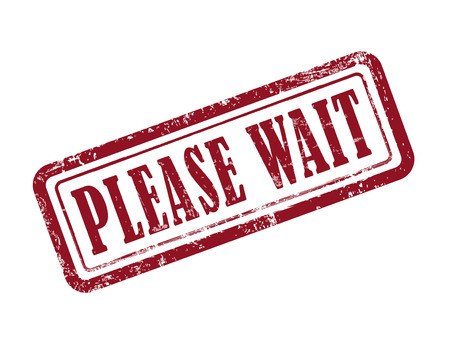 recuperating: stamp please wait in red over white background