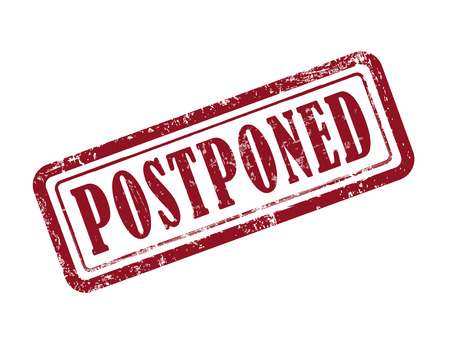 postpone: stamp postponed in red over white background Illustration