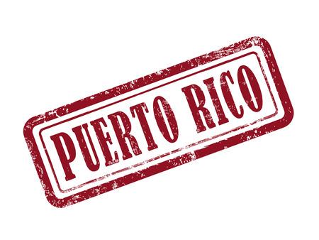 rican: estampar Puerto Rico en rojo sobre fondo blanco Vectores
