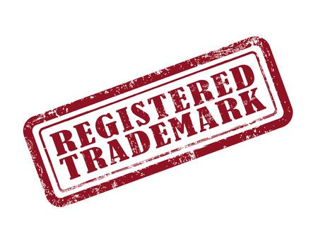 stamp registered trademark in red over white background