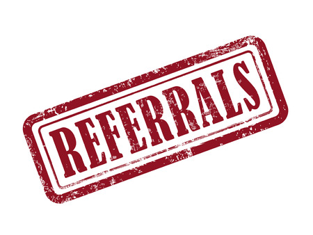 referrals: stamp referrals in red over white background