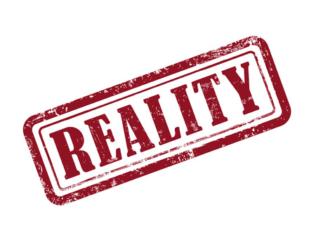actuality: stamp reality in red over white background