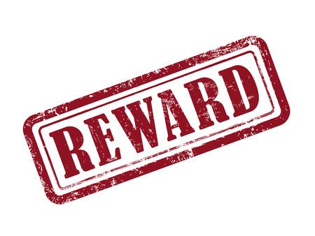 recompensa sello en rojo sobre fondo blanco