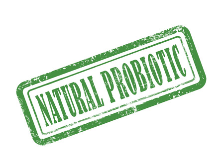 probiotic: stamp natural probiotic in green over white background Illustration