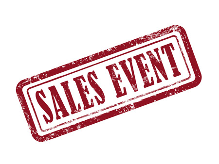 sales event: stamp sales event in red over white background Illustration
