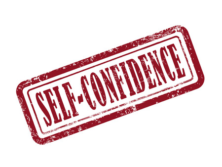 persevere: stamp self-confidence in red over white background