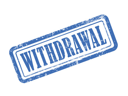 withdrawal: stamp withdrawal in blue over white background
