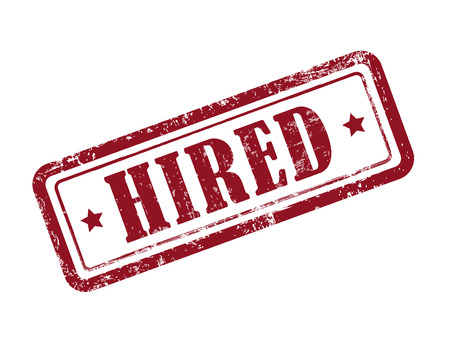 hired: stamp hired in red over white background
