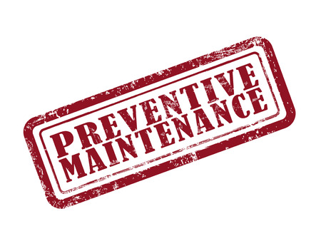 preventive: stamp preventive maintenance in red over white background Illustration