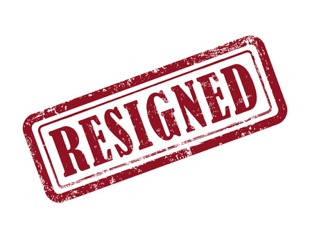 resign: stamp resigned in red over white background
