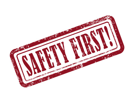 dangerous work: stamp safety first in red over white background