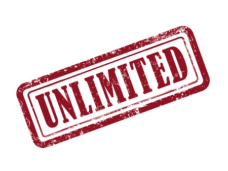 unlimited: stamp unlimited in red over white background