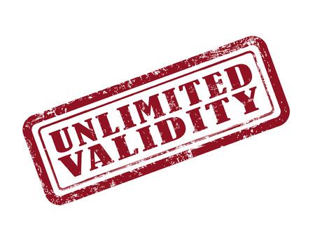 validez: estampar validez ilimitada en rojo sobre fondo blanco