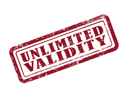 validated: stamp unlimited validity in red over white background Illustration