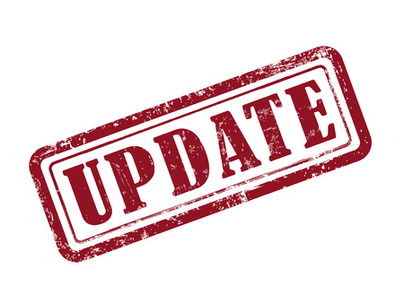 news update: stamp update in red over white background