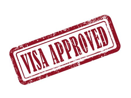 visa approved: stamp visa approved in red over white background