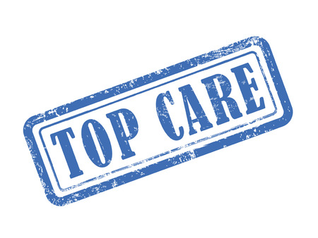 protect home: stamp top care in blue over white background Illustration