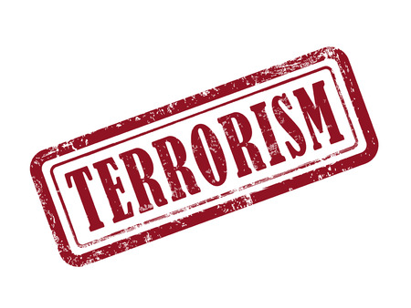 terrorism: stamp terrorism in red over white background