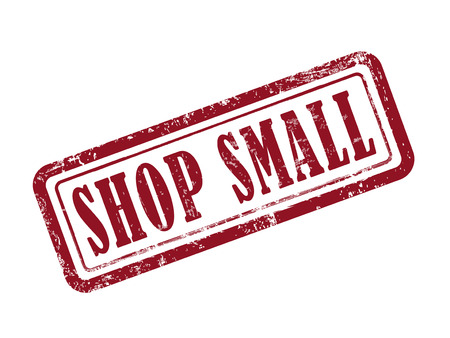 shop local: stamp shop small in red over white background Illustration