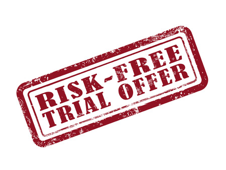 trial: stamp risk-free trial offer in red over white background