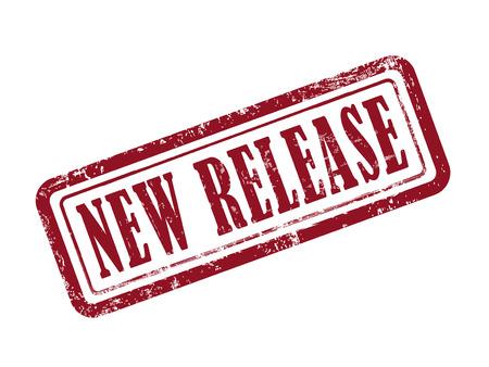 흰색 배경 위에 빨간색으로 새 릴리스 스탬프