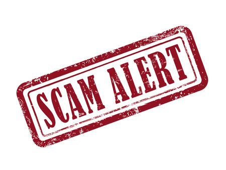 theft prevention: stamp scam alert in red over white background Illustration