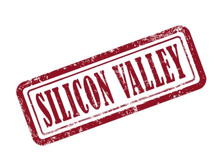 silicio: silicon valley sello en rojo sobre fondo blanco