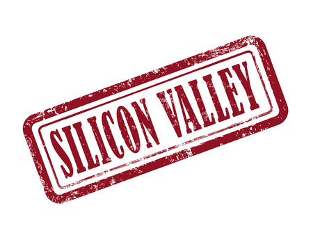 valley: stamp silicon valley in red over white background