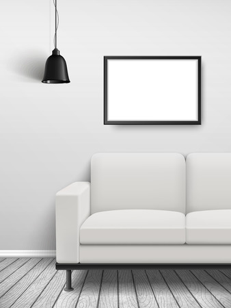 lamp house: cozy house interior scene with blank sofa and poster frame