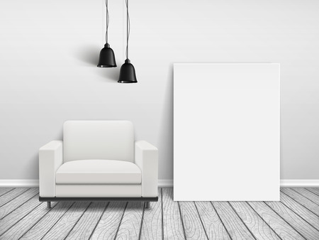cozy house interior scene with blank sofa and poster frame