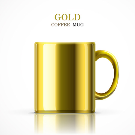 household goods: classic gold mug isolated on white background